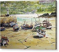 St.ives Harbour Low Tide Cornwall Acrylic Print by Keran Sunaski Gilmore