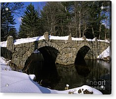 Stone Double Arched Bridge - Hillsborough New Hampshire Usa Acrylic Print by Erin Paul Donovan