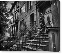 Stoops Of Brooklyn 001 Bw Acrylic Print by Lance Vaughn
