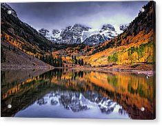 Storm Clouds Over Maroon Bells Acrylic Print by Andrew Soundarajan