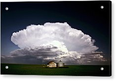 Storm Clouds Over Saskatchewan Granaries Acrylic Print by Mark Duffy