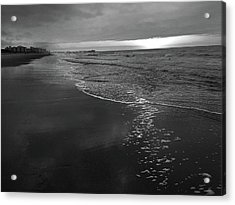 Storm Over Sunrise At Myrtle Beach In Black And White Acrylic Print by Kelly Hazel