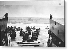 Storming The Beach On D-day  Acrylic Print by War Is Hell Store