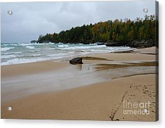 Stormy Au Train Bay Acrylic Print by Sandra Updyke