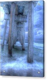 Stormy Pier 1 Acrylic Print by Larry Underwood