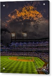 Stormy Sunset At The Baseball Game Acrylic Print by Nick Zelinsky