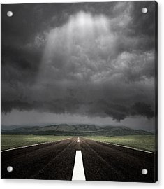 Straight Road Acrylic Print by Carlos Gotay