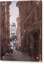 Street At Piazza Venezia Rome Acrylic Print by Ylli Haruni