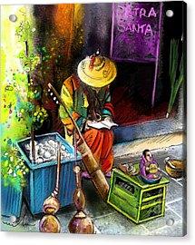 Street Musician In Pietrasanta In Italy Acrylic Print by Miki De Goodaboom