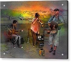 Street Musicians In Prague In The Czech Republic 03 Acrylic Print by Miki De Goodaboom