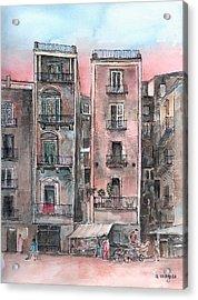Street Scene At Twilight Acrylic Print by Arline Wagner
