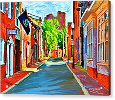 Streetscape In Federal Hill Acrylic Print by Stephen Younts