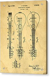Stringed Musicial Instrument Patent Art Blueprint Drawing Acrylic Print by Edward Fielding