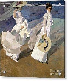 Strolling Along The Seashore Acrylic Print by Joaquin Sorolla y Bastida