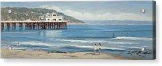 Strolling At The Malibu Pier Acrylic Print by Tina Obrien