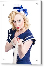 Strong Sailor Pin-up Model Pulling On Tough Rope Acrylic Print by Jorgo Photography - Wall Art Gallery