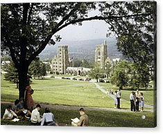 Students Sit On A Hill Overlooking Acrylic Print by Volkmar Wentzel