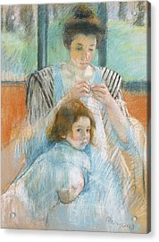 Study For Young Mother Sewing Acrylic Print by Mary Stevenson Cassatt