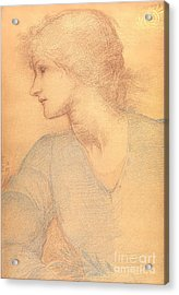Study In Colored Chalk Acrylic Print by Sir Edward Burne-Jones