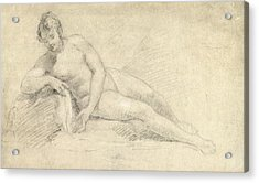Study Of A Female Nude  Acrylic Print by William Hogarth