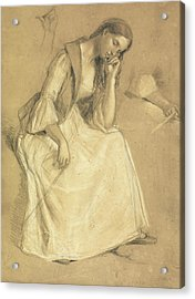 Study Of A Seated Girl Acrylic Print by Charles Cope West