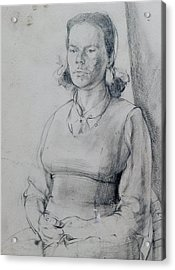 Study Of A Seated Girl. Acrylic Print by Harry Robertson