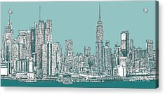 Study Of New York City In Turquoise  Acrylic Print by Adendorff Design