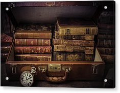Suitcase Full Of Books Acrylic Print by Garry Gay