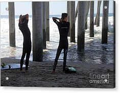 Suiting Up Huntington Beach Acrylic Print by Linda Queally