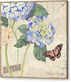 Summer Memories - Blue Hydrangea N Butterfly Acrylic Print by Audrey Jeanne Roberts