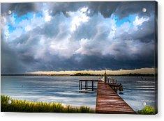 Summer Storm Blues Acrylic Print by Karen Wiles