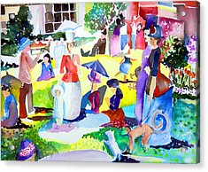Summer With In The Park With George Acrylic Print by Mindy Newman