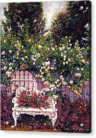 Sumptous Cascading Roses Acrylic Print by David Lloyd Glover