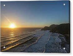 Sun Setting Along The Oregon Coast Acrylic Print by Remsberg Inc