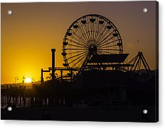 Sun Setting Beyond Ferris Wheel Acrylic Print by Garry Gay