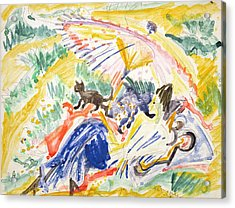 Sunbathing Acrylic Print by Ernst Ludwig Kirchner