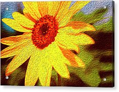 Sunflower Abstract Acrylic Print by Les Cunliffe