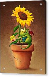 Sunflower And Dragon Acrylic Print by Tooshtoosh