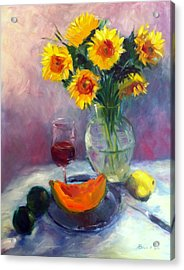 Sunflowers And Cantaloupe Acrylic Print by Patricia Lyle