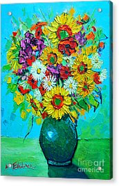 Sunflowers And Daises Acrylic Print by Ana Maria Edulescu