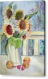 Sunflowers And Peaches Acrylic Print by Katherine  Berlin