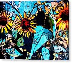 Sunflowers Blue Acrylic Print by Tom Herrin