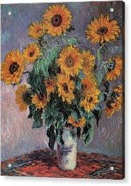Sunflowers Acrylic Print by Claude Monet