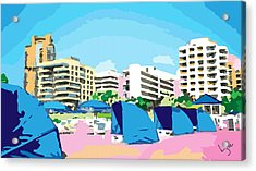Sunny South Beach Miami Acrylic Print by Inge Lewis