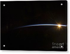 Sunrise As Viewed In Space Acrylic Print by Stocktrek Images