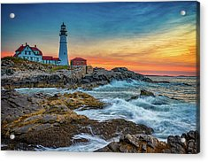 Sunrise At Portland Head Light Acrylic Print by Rick Berk