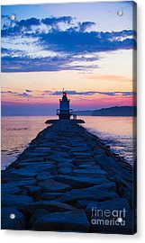 Sunrise At Spring Point Light Maine Acrylic Print by Diane Diederich