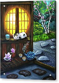 Sunrise In Moon Window Acrylic Print by Laura Iverson