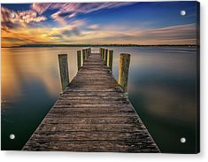 Sunrise On The Dock By The Peconic River Acrylic Print by Rick Berk