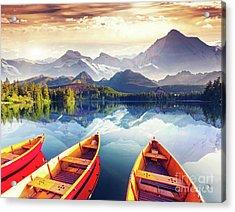 Sunrise Over Australian Lake Acrylic Print by Thomas Jones